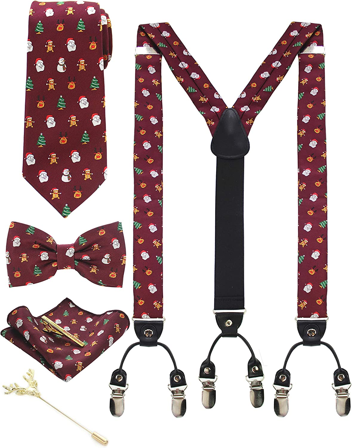 JEMYGINS Mens Festival Christmas Tie and Suspender Tie Clip with Bow Tie and Pocket Square Lapel Pin Sets