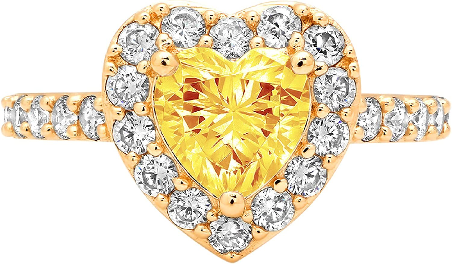 2.19ct Brilliant Heart Cut Solitaire with Accent Halo Natural Yellow Citrine Gemstone Ideal VVS1 Engagement Promise Statement Anniversary Bridal Wedding ring 14k Yellow Gold
