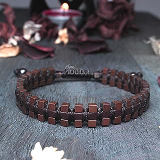 Taille 19-20cm Mode tendance Sublime Bracelet Homme/Men's Style Shambala Marron Cuir VÉRITABLE Perles Hématite aspect Mat ...