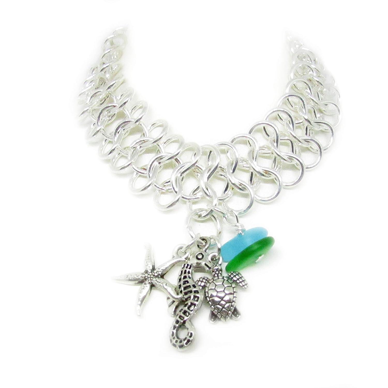 Sea 5 ☆ popular Popular standard Glass Bracelet - Beach Turtle Charm Jewelry Wristlet