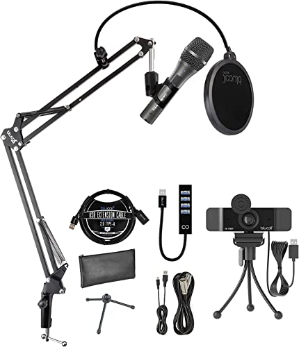 2021 Audio-Technica AT2005USB Cardioid Dynamic USB/XLR Microphone for outlet sale PA Systems, Windows and Mac Bundle with Blucoil 1080p USB Webcam, Boom Arm Plus Pop Filter, USB-A Mini Hub, and sale 3' USB Extension Cable sale