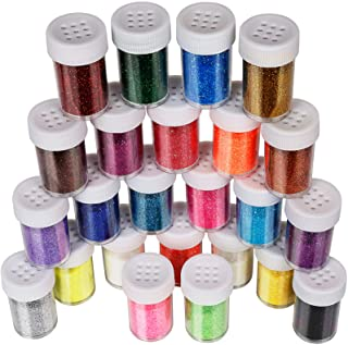 Fine Glitter Set 20g, Teenitor 24pcs Glitter Shake Jars for Art Crafts Painting Scrapbooking Body Slime Holiday Party Supply, Multi Color Assorted Set