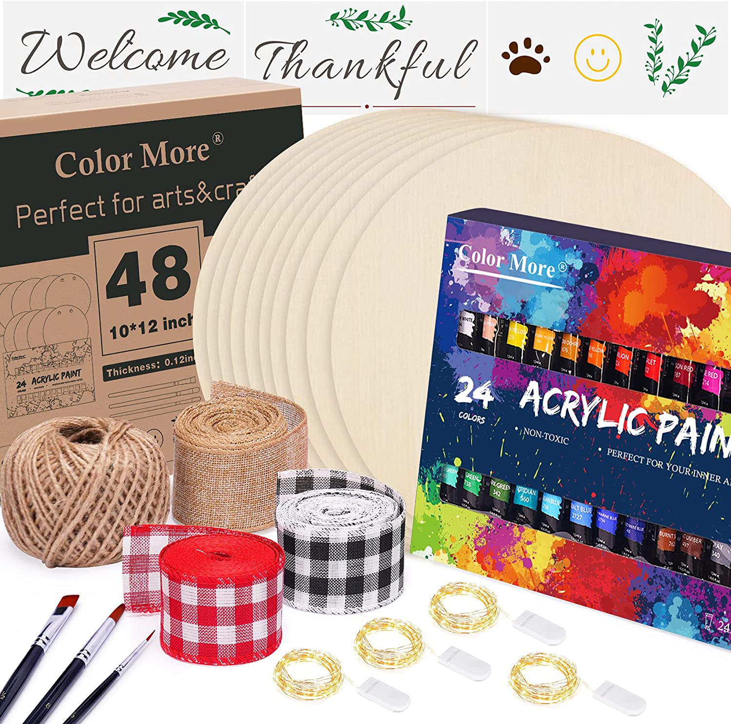 10 Pack 12 Inch Unfinished Louisville-Jefferson County online shopping Mall Wood Circles with Acrylic Paints 3 24