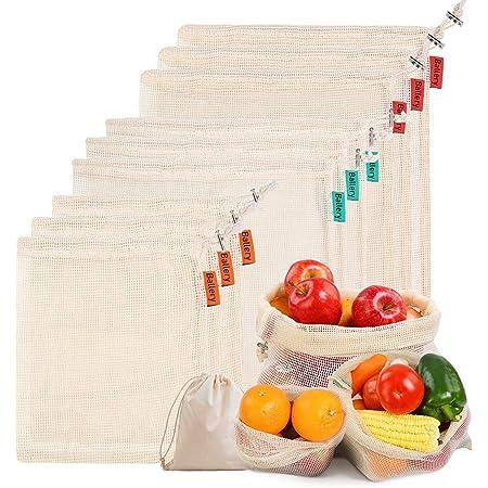 Sacchetti di Verdure in Cotone riutilizzabili, Ballery Sacchetti di Frutta e Sacchetti di Verdura, bellissime Borse in Cotone Naturale - Set da 10