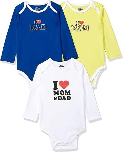 Amazon Brand - Jam & Honey Baby Boy's Romper Suit (Pack of 3)