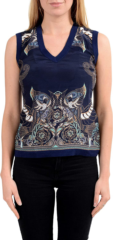 Versace Collection Women's Silk Navy Blue V-Neck Sleeveless Tank Top Sz US