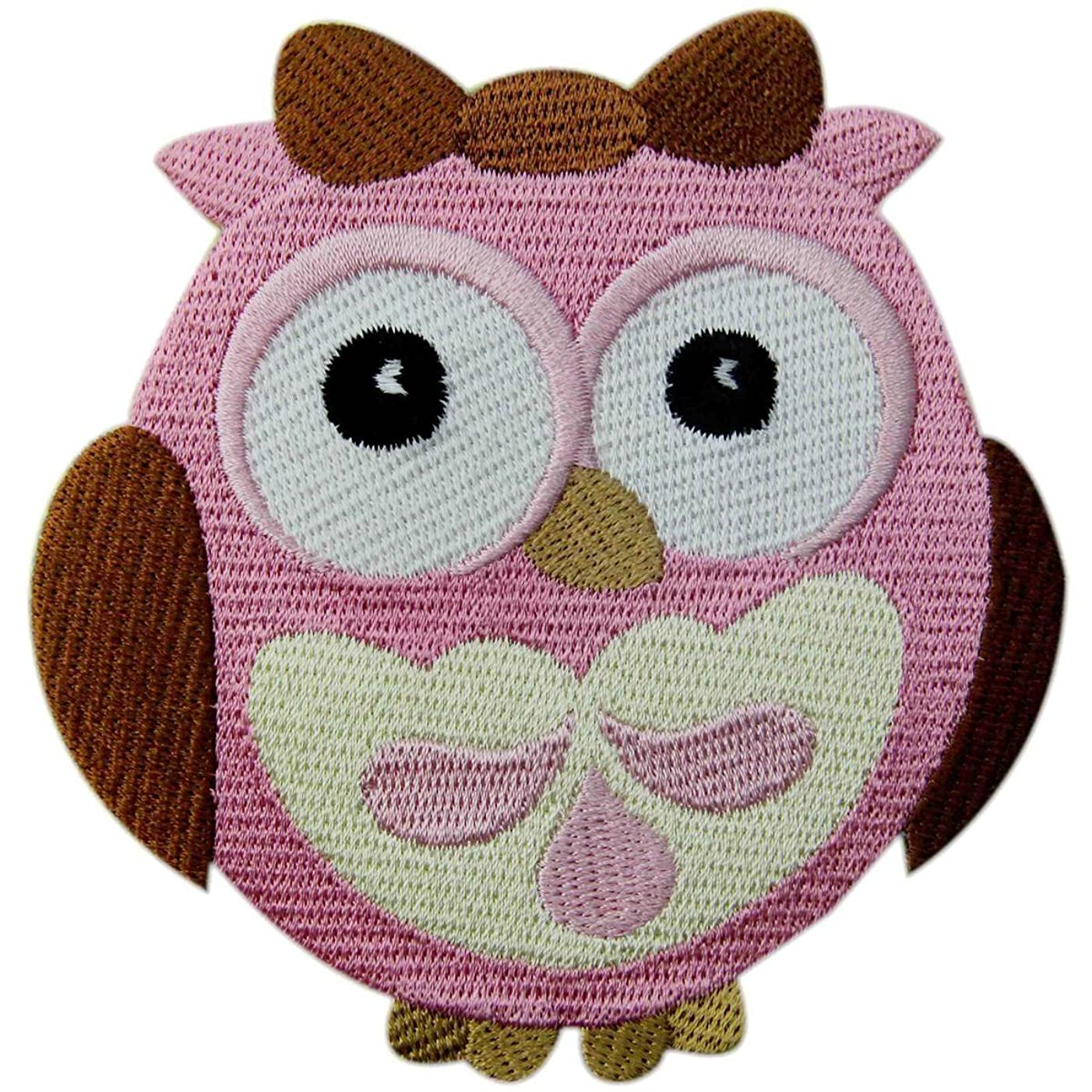 Wide-Eyed Baby Girl Owl Embroidered Applique Iron On Sew On Patch