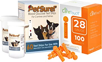 PetSure Blood Glucose Test Strips - Use with AlphaTRAK and AlphaTRAK 2 Meter, 60 Test Strips for Pets with 100 28 Gauge Lancets by Care Touch