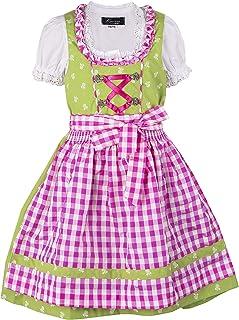 Ramona Lippert Kinder Dirndl für Mädchen - Kinderdirndl Chrissi in Grün - 3-teiliges Trachtenkleid - Trachtenmode - Tracht mit Schürze