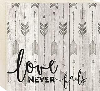 P. Graham Dunn Love Never Fails Grey Arrow Pattern 10 x 11 Pine Wood Boxed Pallet Wall Art Sign Plaque