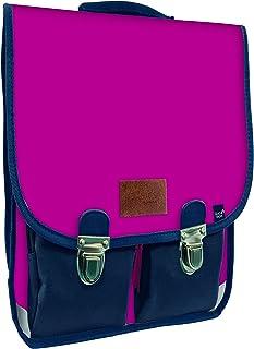 Cartera Infantil Vintage con Dos Compartimentos y Dos Bolsillos Delanteros, Color Frambuesa/Azul Marino