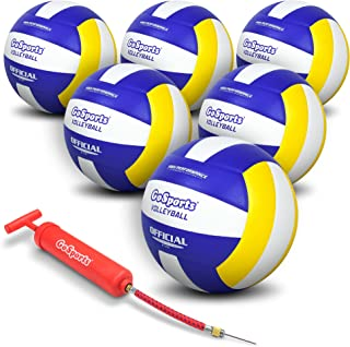 GoSports Indoor Competition Volleyball - Made from Synthetic Leather - Includes Ball Pump - Regulation Size and Weight (Choose Single Ball or Six Pack)