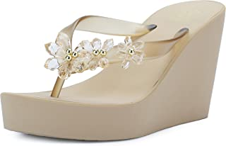 IDIFU Women's Sweet Flowers Wedge Platform Thong Sandals Flip Flops with Heels
