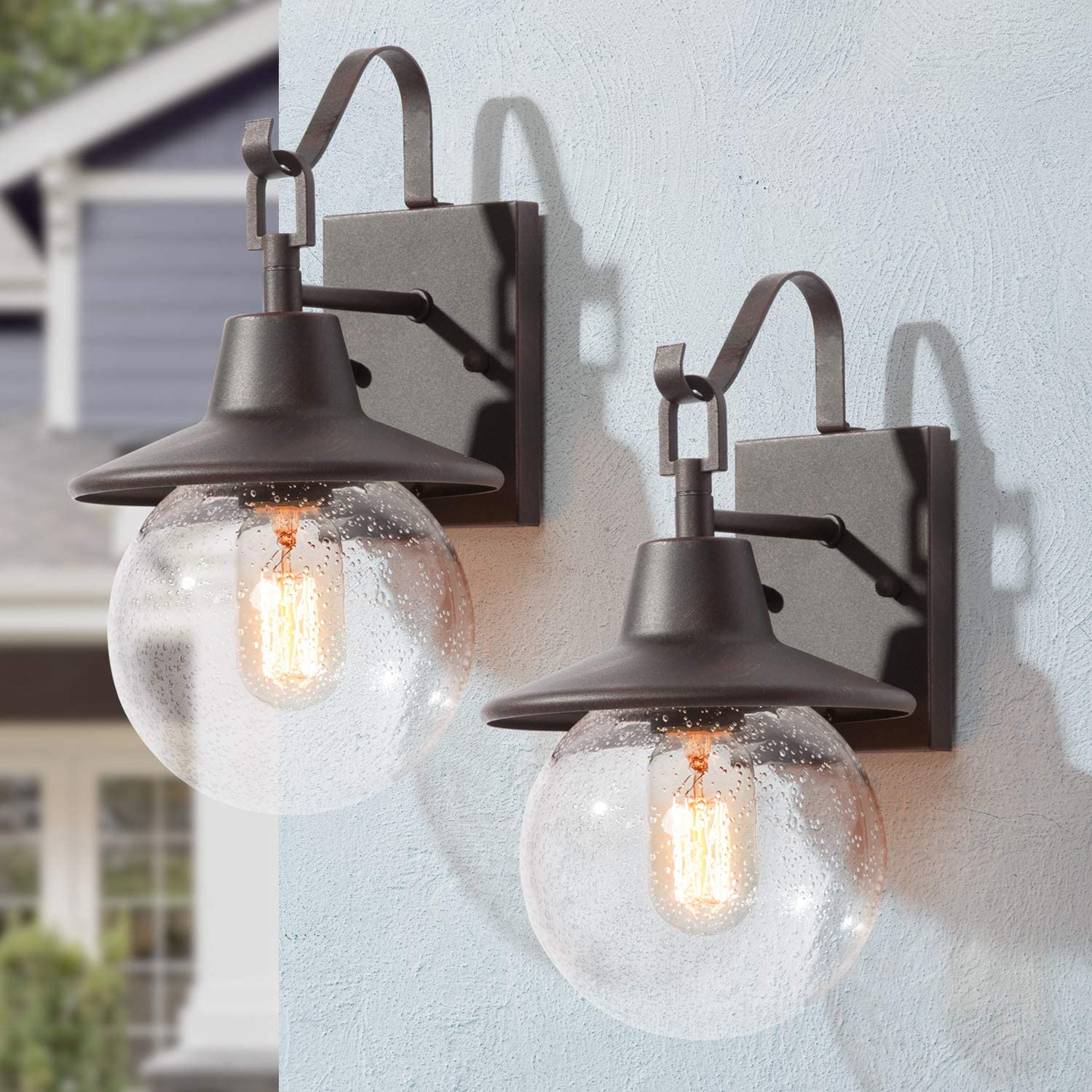 LOG Special price for a limited time BARN 2 Pack Spherical Sacramento Mall Porch G Seeded Light Outdoor Fixtures