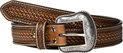 Nocona Basketweave Emboss Belt w/ Rawhide Lacing
