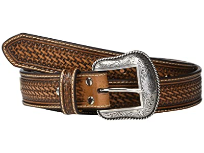 M&F Western Nocona Basketweave Emboss Belt w/ Rawhide Lacing (Tan) Men