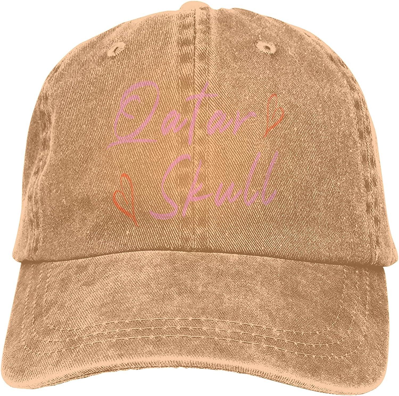 Qatar Skull Baseball Cap Trucker Hat Retro Cowboy Dad Hat Classic Adjustable Sports Cap for Men&Women Natural Black