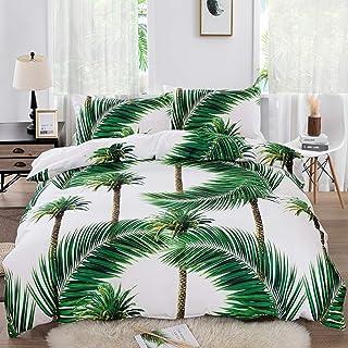 JXING Parure de lit 2/3 pièces avec housse de couette en microfibre douce et légère Motif forêt tropicale pour femme/homm...