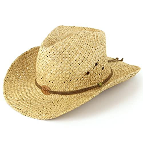 0419f06c50a Straw cowboy hat with leather band detail and three horses badge. Natural