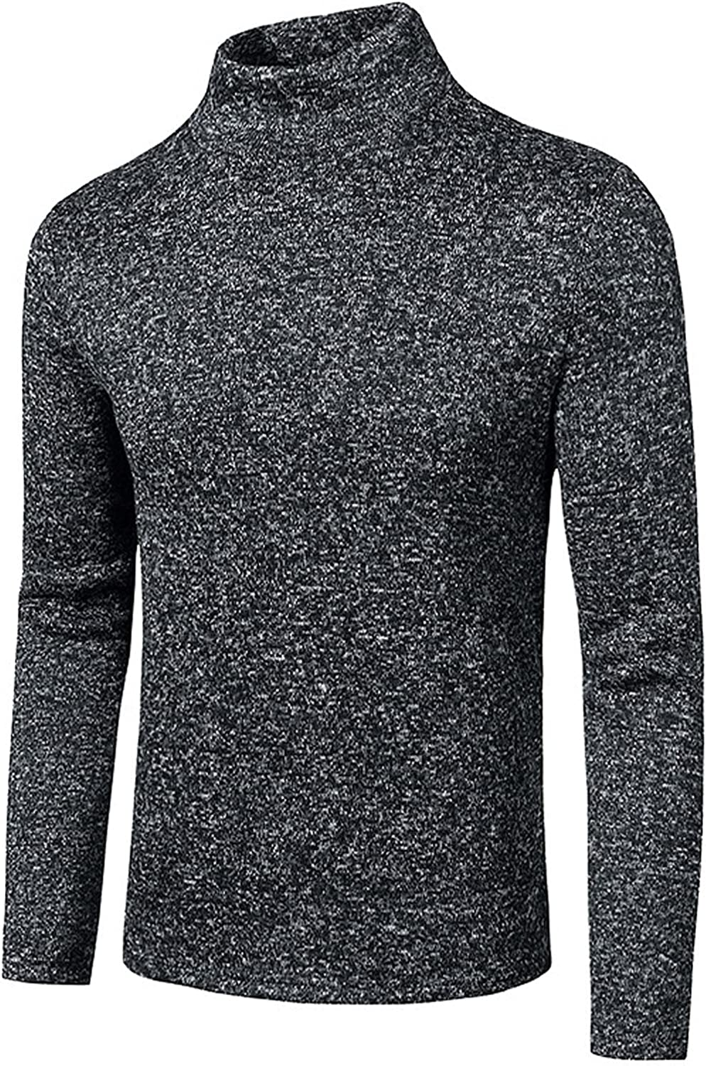 XXBR Flat Knitted Mock Neck Pullover for Mens, 2021 Fall Slim-fit Warm Casual Tops Solid Color Fashion Fleece Sweater