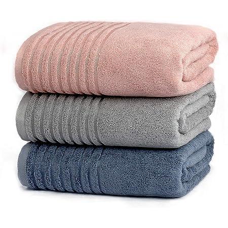 Etech バスタオル 綿100% 撚糸 大判 ソフト ふわふわオーガニックコットン 吸水速乾 ホテル仕様 柔らかい なめらか シルクのような肌触り 73x138cm 3色3枚セット 家庭用