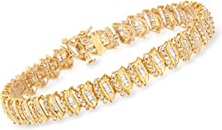 Ross-Simons 3.00 ct. t.w. Baguette and Round Diamond Bracelet in 18kt Gold Over Sterling