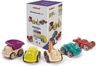 Miniland-Eco Minimobil Unidades 5 Vehículos de Juguete de 12cm Fabricados en Materiales sostenibles (32154)