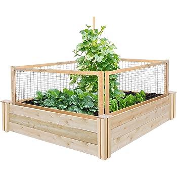 "Greenes Fence RC4T12BCG Cedar Raised Garden with CritterGuard Fence System, 48"" x 48"" x 10.5"""
