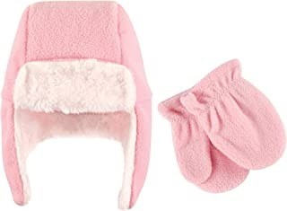 Hudson Baby Baby Girls' Fleece Trapper Hat and Mitten Set