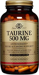 Solgar Taurine 500 mg, 250 Vegetable Capsules - Antioxidant - Brain & Heart Health - Amino Acid - Vegan, Gluten Free, Dair...