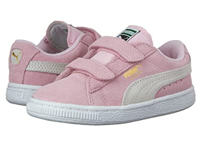 Puma Kids Suede 2 Straps (Little Kid) (Pink Lady/PUMA Team Gold) Girls Shoes