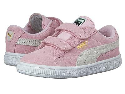 PUMA Kids Suede 2 Straps (Little Kid) (Pink Lady/PUMA Team Gold) Girls Shoes