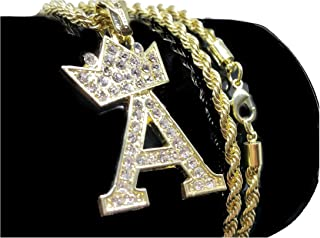 Iced Out Initial Letter A Crown 14K Hip Hop Gold Plate Jewelry Bling Bling Pendant Necklace 30