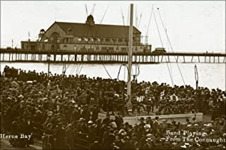 20x30 Poster; Postcard Photo Of A Crowd Listening To Music At The Tower Gardens Near The Clock Tower, Herne Bay, Kent, Dated 1910-1913