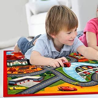 Perfect for Bedroom and Playroom Disney Cars Lightning McQueen 3 2'7 x3'8 Game Rug