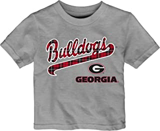 OuterStuff NCAA Georgia Bulldogs Toddler Flannel Script Short Sleeve Tee, 2T, Heather Grey