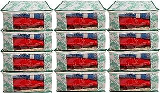 Dewberries Pack of 12 Printed Saree Cover Wardrobe Organiser(Green)