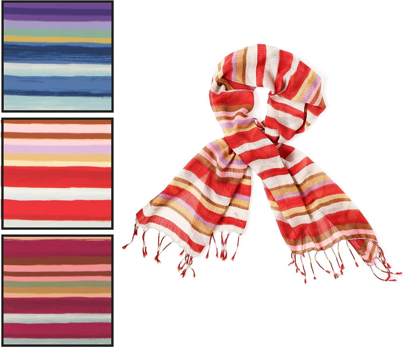 Chaps Womans Women's Painted Stripe Wrap, red Garnet, One Size