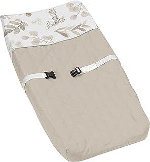Sweet Jojo Designs Boho Botanical Leaf Boy Girl Baby Nursery Changing Pad Cover - Gender Neutral Ivory Cream Beige Tan Off...