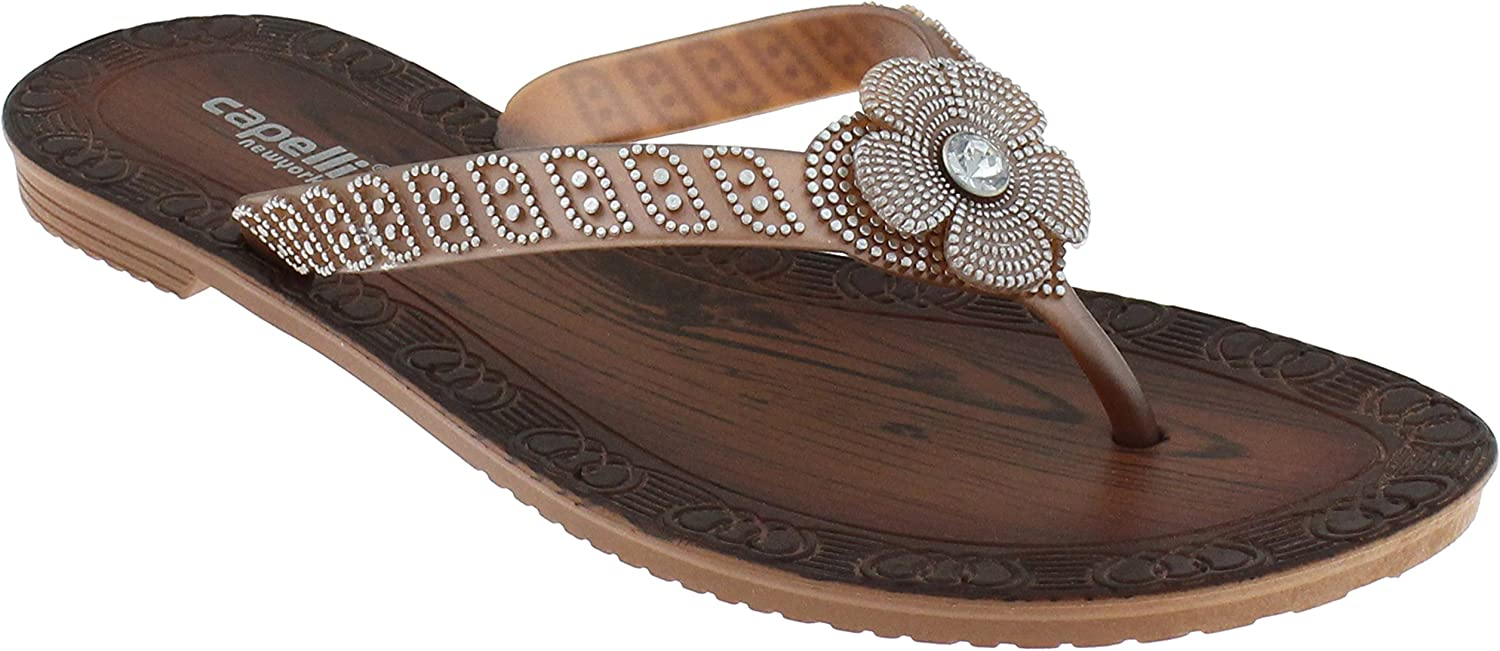 Capelli New York Ladies Flip Flops with Gem, Pearl and Rhinestone Trim