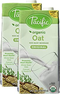 Pacific Natural Foods Organic Oat Beverage, Original, 32 Ounce Box, Pack of 2