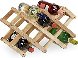 Relaxdays Wooden Wine Rack, Walnut, for 8 Bottles, Cottage Style, Small, Sturdy Bottle Holder, HxWxD: 45 x 17 x 31 cm, Natural