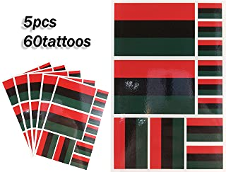 JBCD Afro American Temporary Tattoos African American Stickers Flag Waterproof Tattoos National Flags Tattoo Patriotic Face Tattoos, Suitable for Sports Event Parties Bar and Pride Celebrations