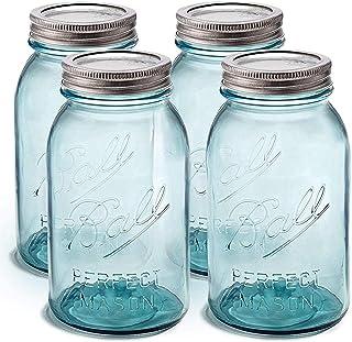 Ball Aqua Canning Jars 32 oz Regular Mouth - Set of 4 Vintage Mason Jars Aqua-colored glass with Airtight lids & Bands - D...