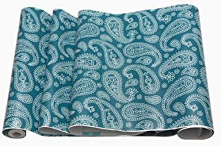 Amao Vintage Paisley Wallpaper Stick and Peel for Countertop Covering Rent House Shelving Drawers 17.7''X98''