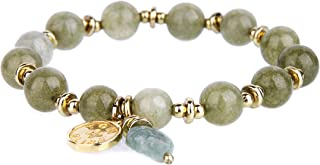 Handmade Gold Plating 8MM Natural Stone Jade Stretch Beaded Bracelets for Women with Leaf Pendant