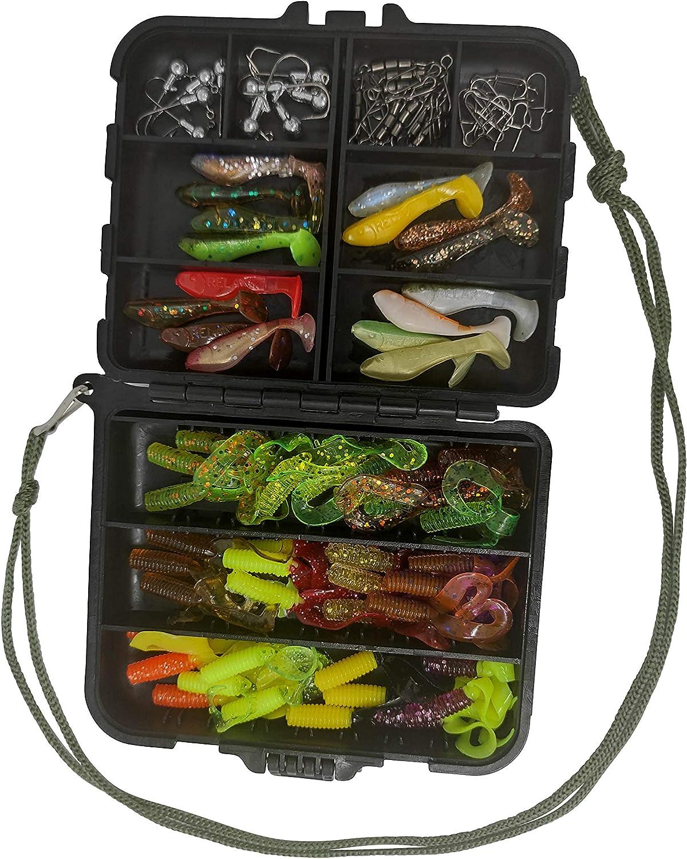 SANDAFishing Cebo para pesca de truchas y percas – Relax Classic 3,5 cm doble cola Twister 2 pulgadas 4,5 cm Set