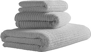 Rivet Ribbed Cotton Bath Towel Set, Set of 3, Pewter