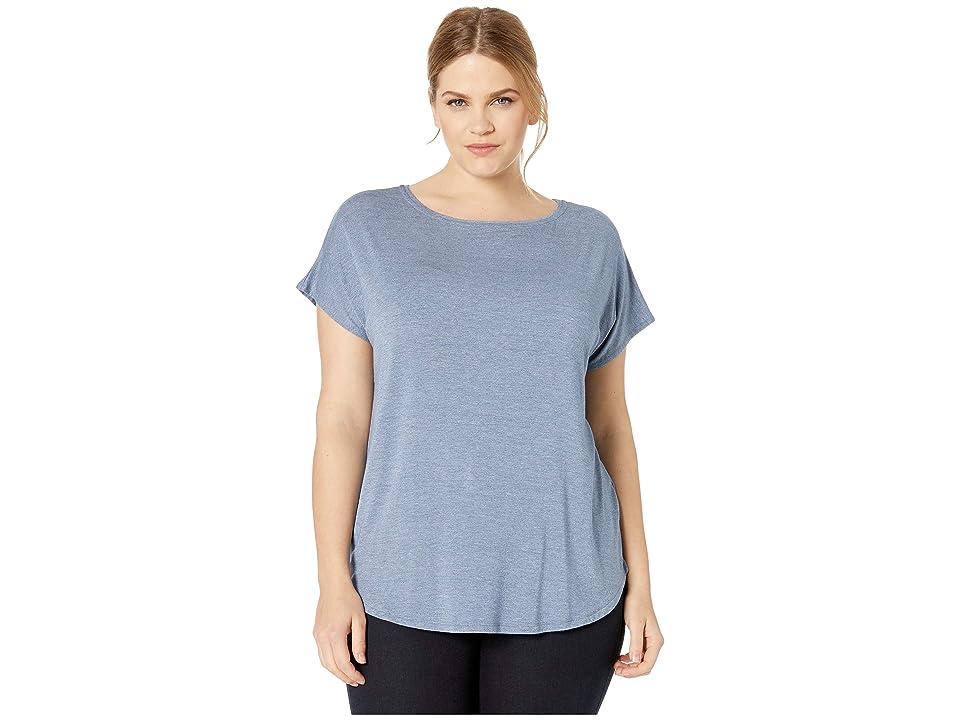 Donna Karan Plus Size Short Sleeve Tee (Blue Heather) Women