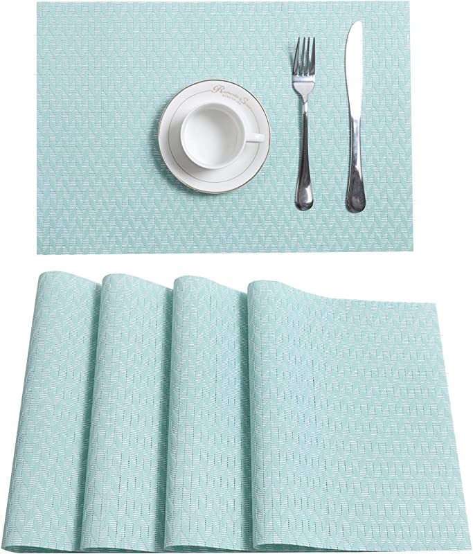 U Artlines Set Of 4 Placemats Placemats For Dining Table Heat Resistant Placemats Stain Resistant Washable PVC Table Mats Kitchen Table Mats Placemats 4pcs M Mint Green